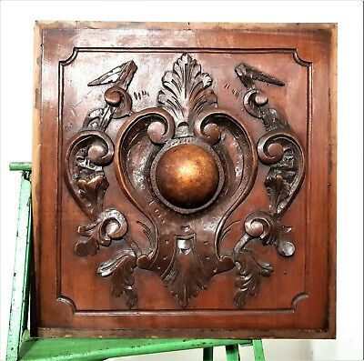 Gothic scroll leaves panel antique french hand carved wood salvaged furniture