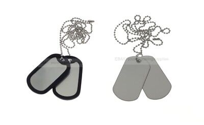 2 x Military Dog Tags with Chain, Army ID Tag, Necklace Soldier Fancy Dress