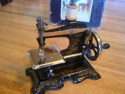 Antique German Child's Toy Sewing Machine Mini Floral Hand Crank Germany