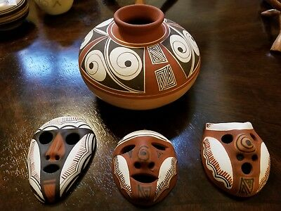 Lot of 4 Vintage Venezuelan Painted Clay Masks & Vase decorative Beautiful group