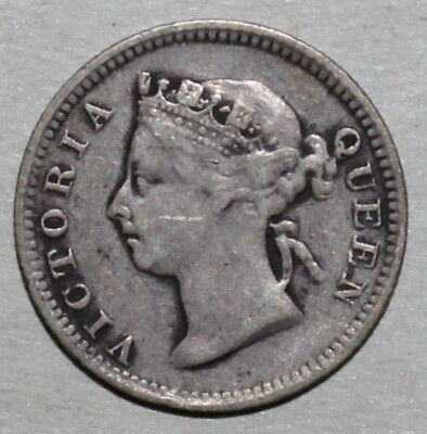 British Hong Kong 5 Cents Coin 1895 KM# 5 Queen Victoria Silver HK UK China Five