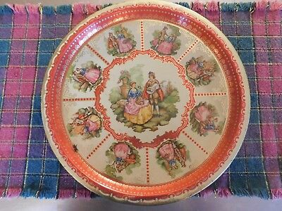 Vintage Tin Litho Young Lovers Serving Tray Made in England