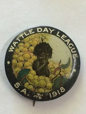 WW1 1918 South Australia Wattle Day League Appeal Day Button Badge