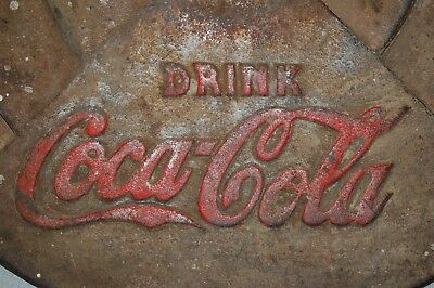"Vintage Drink Coca Cola Cast Iron Base for an Umbrella or Sign 21 1/2"" Diameter"