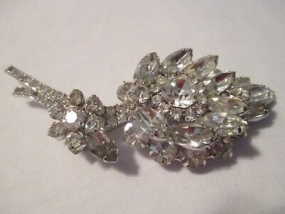 "Vintage Huge 4"" Clear Rhinestones Tiered Brooch/pin"
