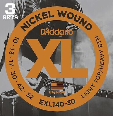 D'Addario EXL140-3D Nickel Wound Electric, Light Top/Heavy Bottom, 10-52, 3 Pack