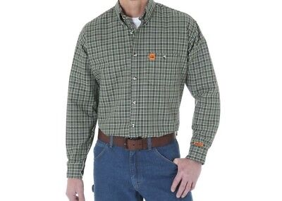 Wrangler Riggs Workwear Flame Resistant Fr Shirt Olive Plaid X-Large New Xl