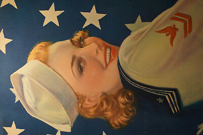 Vintage Victor Tchetchet 1940s Pin-Up Poster WWII Victory Girl Sailor Navy