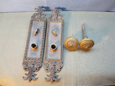 Antique Set of Victorian Brass Door Knobs and Back Plates