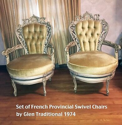 Set of French Provincial Swivel chairs made by Glen Traditional company - 1974