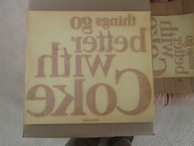 """Vintage New-Old-Stock """"THINGS GO BETTER WITH COKE"""" Decal - approx 11 x 12 inch"""