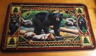 Black Bear Cubs THICK RUBBER BACK Kitchen Rug Door Mat Cabin Lodge Home Decor