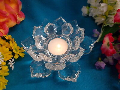 LOVELY GLASS CANDLE HOLDER - FLOWER DESIGN - 14 cm W - EX COND