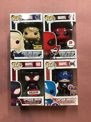 Marvel Funko Pop! Superior Spider Man Gwen Unhooded Captain America Exclusives
