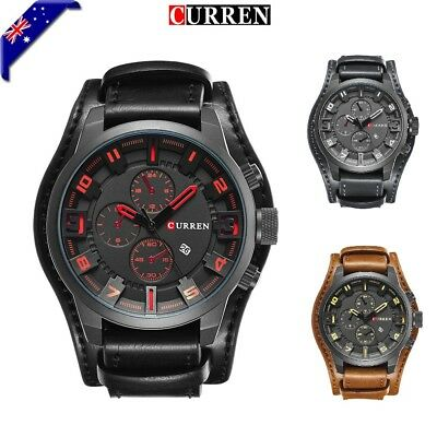 Mens Fashion Leather Stainless Steel Sport Analog Quartz Wrist Watch Waterproof