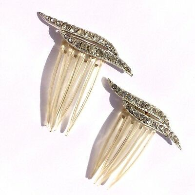 pair vintage Rhinestone Hair Combs Accessory Updo Hairstyle Clear Plastic