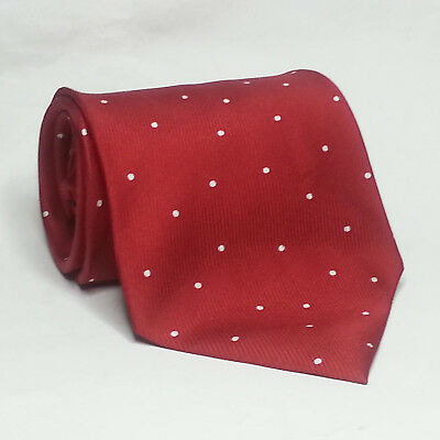 """NAUTICA Men SilkDress Tie Red with Polka Dots Profile 3.75"""" wide 57"""" long"""