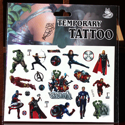 Superhero Avenger Kids Gift Temporary Art Tattoo Sticker Removable Waterproof