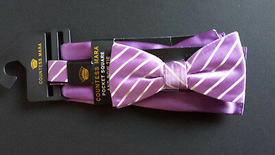 Countess Mara Men Bow Tie with Pocket Square Purple with Stripes