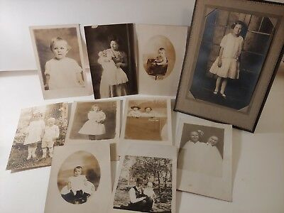 Antique 1900's photo group of babies & kids, postcards, crafts, shabby chic