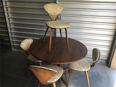 Vintage Mid Century Modern Dining Set w/4 Cherner Style Bentwood Chairs 2 Leaves