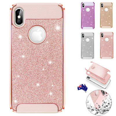 Fr iPhone XS Max XR Pink Bling Glitter Sparkle Shockproof Protective Case Cover