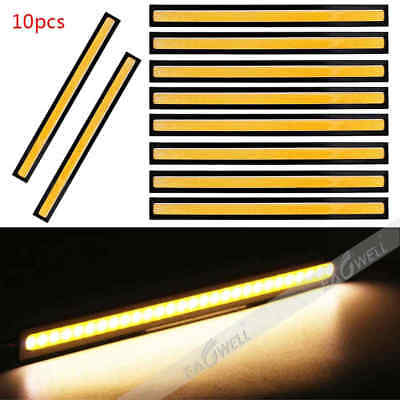 10X 12V Waterproof Yellow DRL LED Strip Lights Bars Camping Caravan Boat Car COB