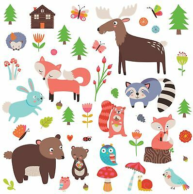 Woodland Animals Decorative Peel  Stick Wall Art Sticker Decals for Kids Room or