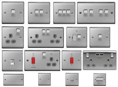 BG Nexus Metal Switches & Sockets - Brushed Steel