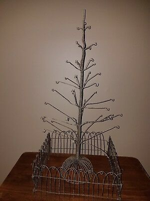 Vintage Antique Metal Wire Christmas Tree Display for Ornaments with HTF Fencing