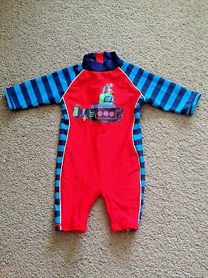 Baby boy Swimsuit, all-in-one Wetsuit. Size 6-9 months. Submarine, striped.