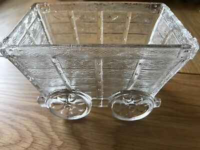Vintage pressed glass dish in the shape of a coal wagon