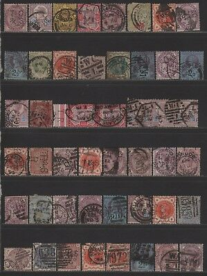 Great Britain QV Perfin Lot of Different Design Faces