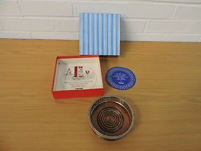 Vintage 1977 Tioxide Silver Plated + Wood Wine Coaster Boxed
