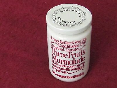Vintage James Keiller & Sons Dundee THREE FRUIT Marmalade 16OZ stoneware jar