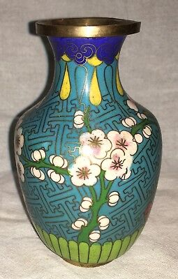 Vintage Chinese Hand Painted Vase China Metal Brass Asian