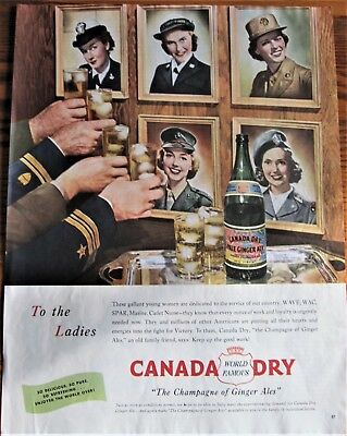 WAVE,WAC,SPAR,Marine,Cadet Nurse Saluted in WWII Canada Dry Ad