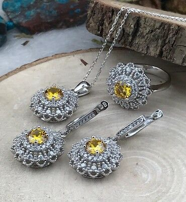 925 Sterling Silver AAA Quality Jewelry Brazıl Yellow Citrine Ladie's Full Set