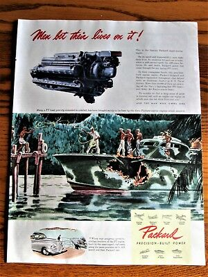 PT Boat Greatly Damaged Makes Port by 3 Packard Marine Engines WWII Ad