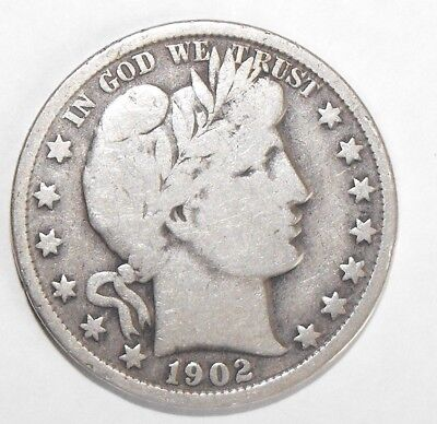 1902 Barber Half Dollar, Circulated and ungraded