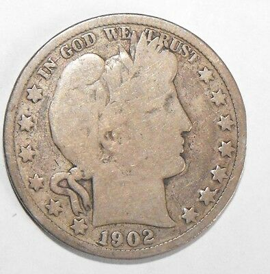 1902S Barber Half Dollar, Circulated and ungraded