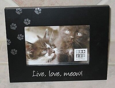 "Cute Sixtrees Black Wood Photo Frame w/Live, Love, Meow for 6""X 4"" Cat Photo-NWT"