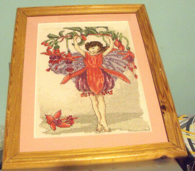 Fuchsia Flower Fairy Finished / Completed Beaded Counted Cross Stitch