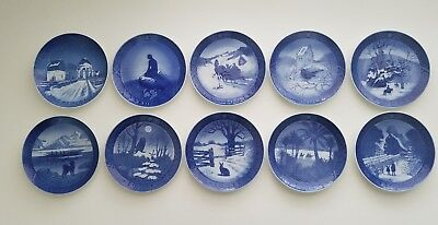 9 Royal Copenhagen Christmas Wall Plates 1962-1973  &  1 - B&G Jule After 1960