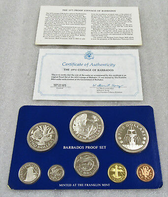 1975 Barbados Proof Set * Neptune God of the Sea 8- Coins in Sealed Mint w/ CoA