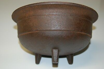 "Vintage 9"" Cast Iron Footed Bowl 10 lbs 8 oz  4 3/4"" deep"