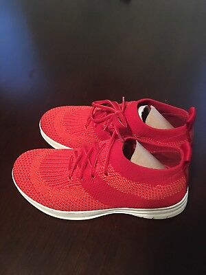 ea8599dc Fit Flop Classic Red Womens Size 5 Uber Knit Slip On High Top Sneakerer Shoe