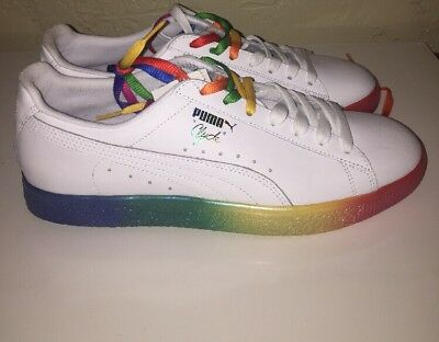 2fefa4ff06f4 PUMA Clyde Pride Sneakers Men s White Shoes Rainbow LGBT (365742 01) Size  10 New