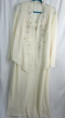 Studio 1 Mother of The Bride Size 20W Beige Two-Piece Sheer Tiered Jacket Dress