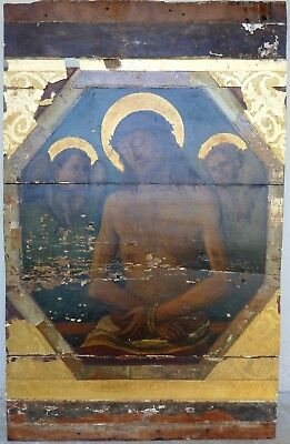 Old Antique Religious Icon Christ Painting on Board Christian European Church